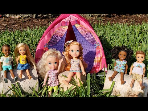 camp-!-elsa-and-anna-toddlers---camping---barbie-is-counselor---outdoors-activities