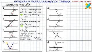 Задачи. Признак параллельности прямых. Доказать, что прямые параллельны. По рисунку.