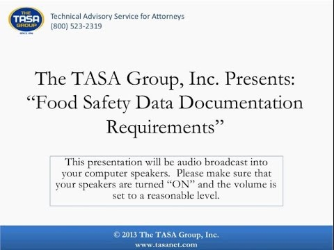 Food Safety Data Documentation Requirements