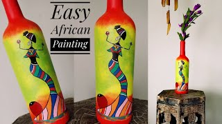 African Dancing Lady on Bottle  Easy Bottle painting for beginners    DIY African Tribal Art