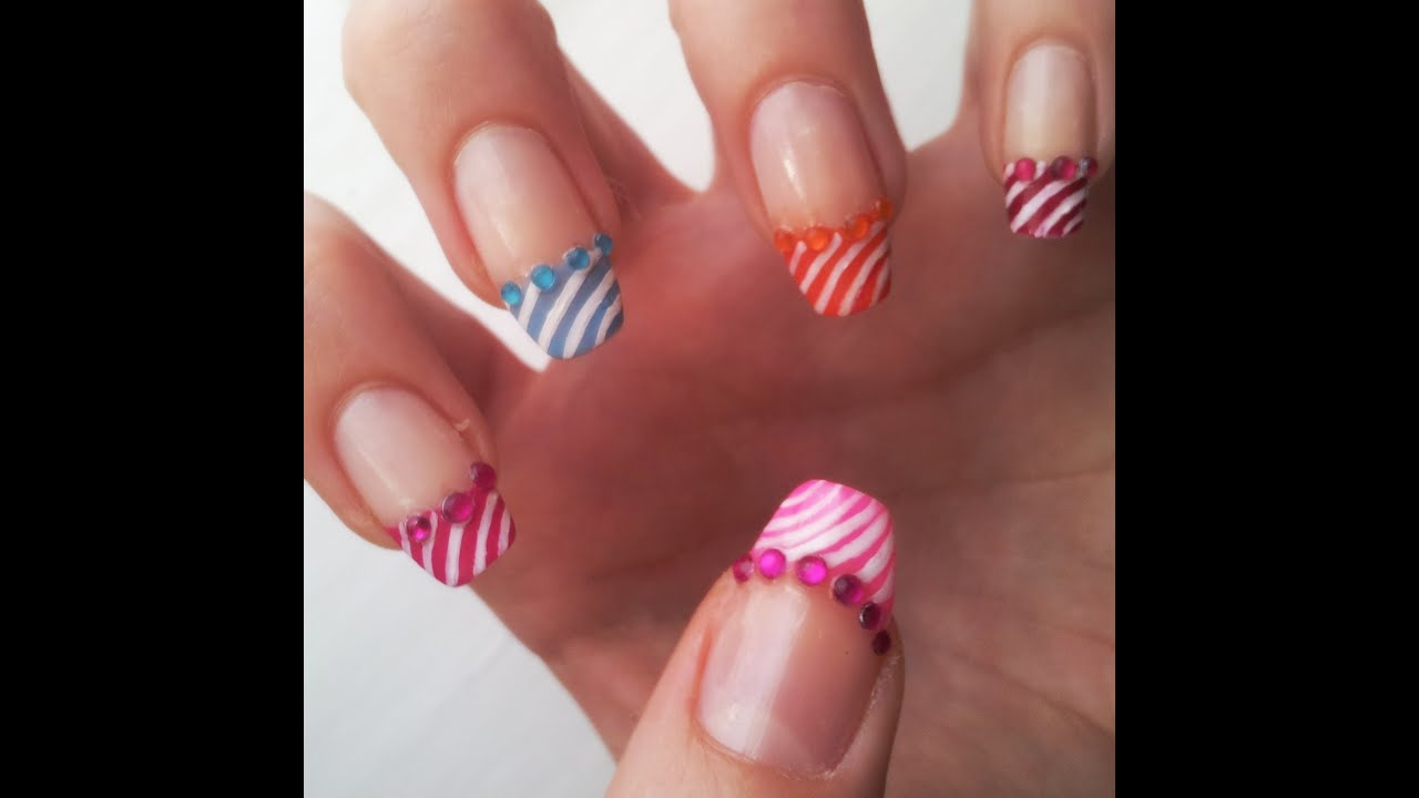 Summer French Manicure Nail Art Design Tutorial