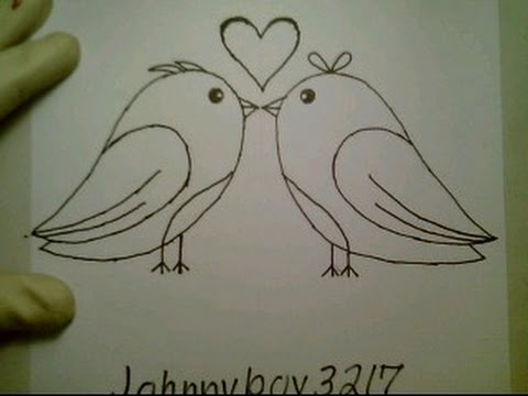 How To Draw A Valentine Heart Love Birds Pictures Drawing Kissing 3D