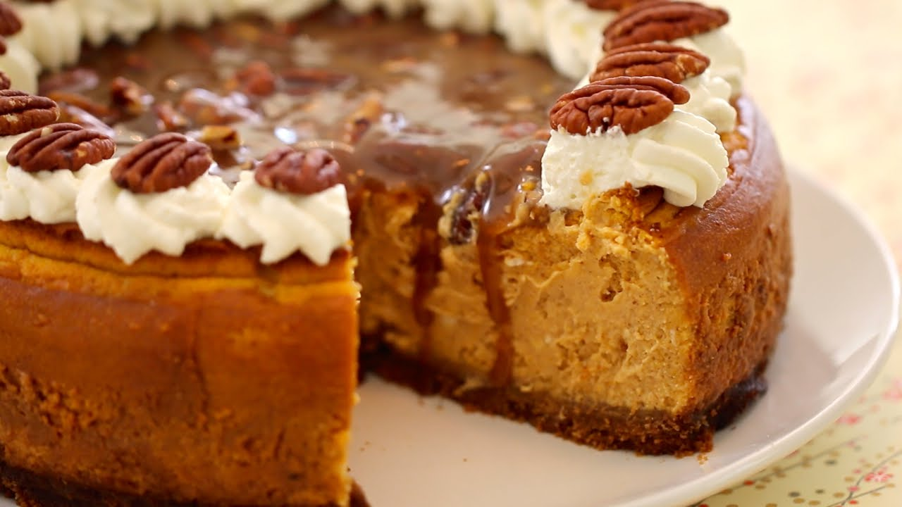 Pumpkin Cheesecake with Pecan Praline Sauce - Gemma's Bigger Bolder ...