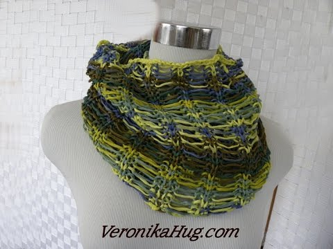Stricken – Fallmaschen-Loop – Woolly Hugs BANDY 07 – Veronika Hug