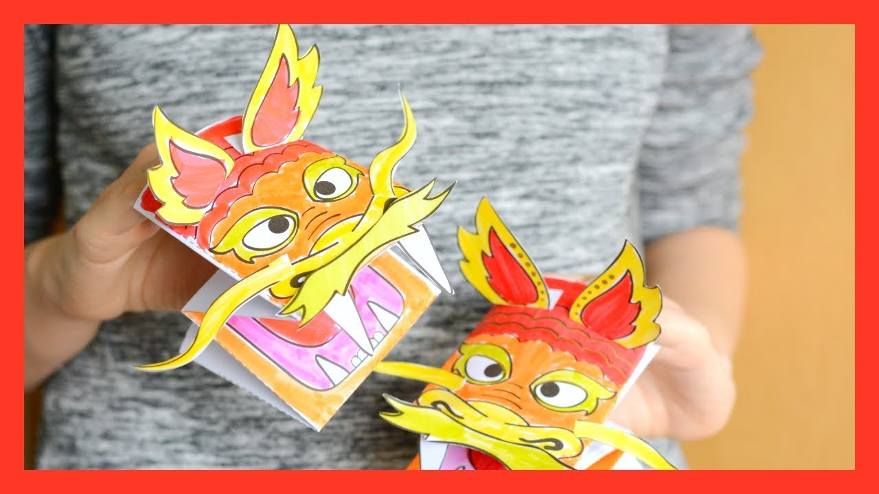 printable chinese dragon puppet chinese new year craft for kids