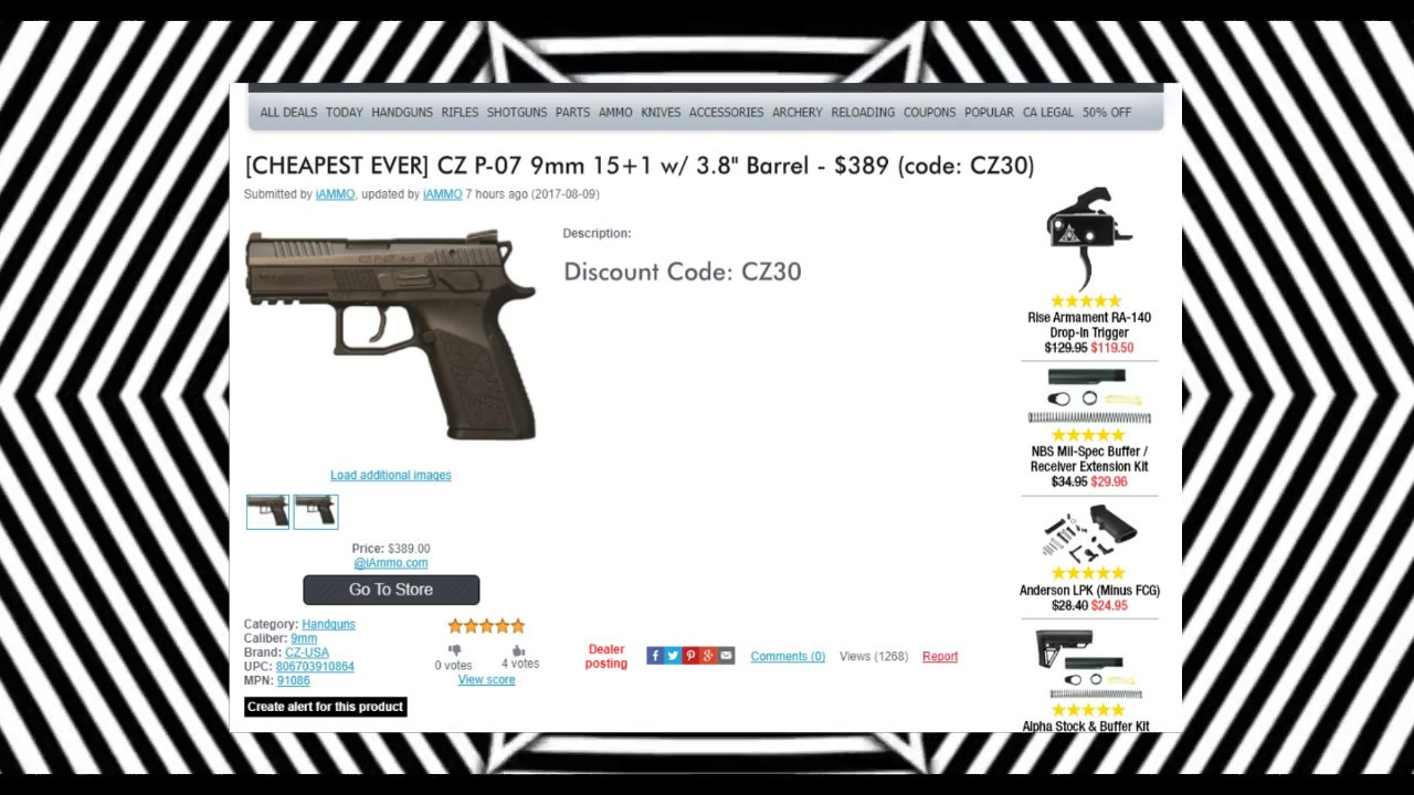 CZ P07 $389 A deal you can't #RESIST