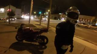 Drunk guy tries to fight 7 bikers
