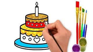 Birthday Cake Drawing & Coloring For Children | Kids Coloring Pages