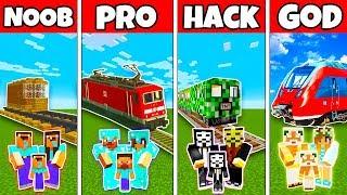 Minecraft Battle: FAMILY TRAIN STATION BUILD CHALLENGE - NOOB vs PRO vs HACKER vs GOD in Minecraft