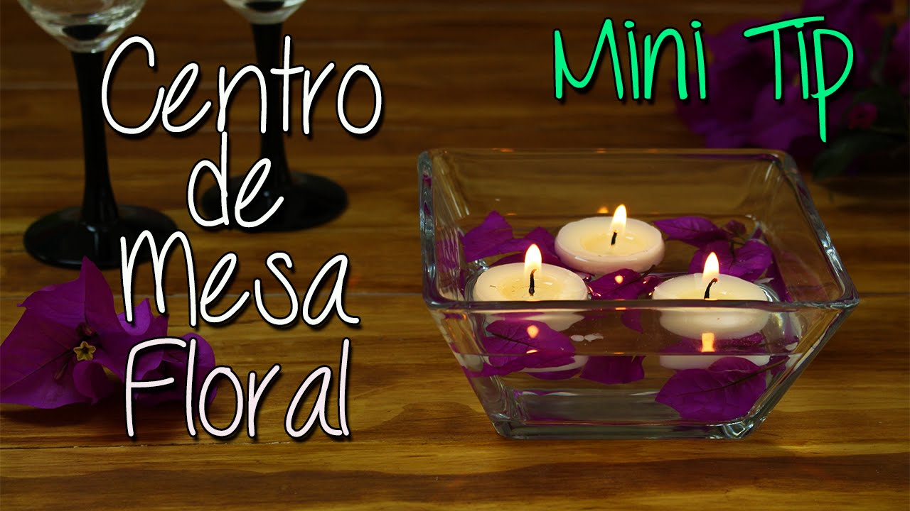 centro de mesa con flores y velas flotantes mini tip