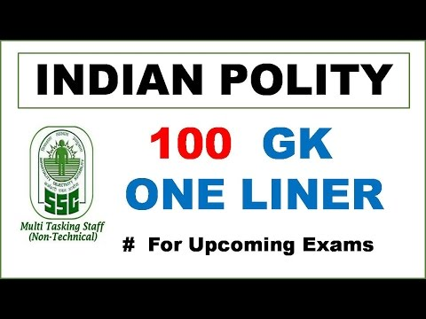 """100 Indian Polity GK One Liner Questions for SSC MTS, CGL & CPO Exams! "" - Study Capsule"