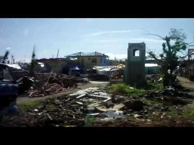 2014 01 04 Typhoon Yolanda devastation driving south from Tacloban 1408 Travel Video