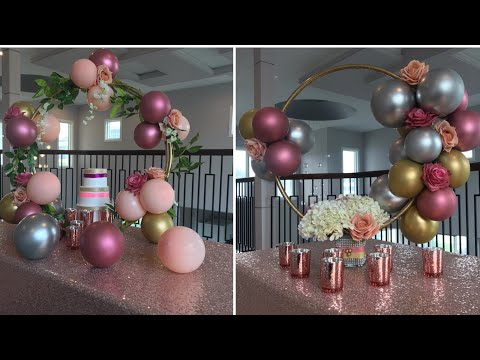 DIY Dollar Tree  Hula Hoop Balloon Cake Stand Diy- Dollar Tree Hula Hoop Centerpiece Diy-Wedding