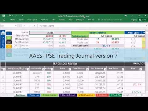 Stock Portfolio Management Excel Spreadsheet  (AAES PSE Trading Journal version 7. -part 2)