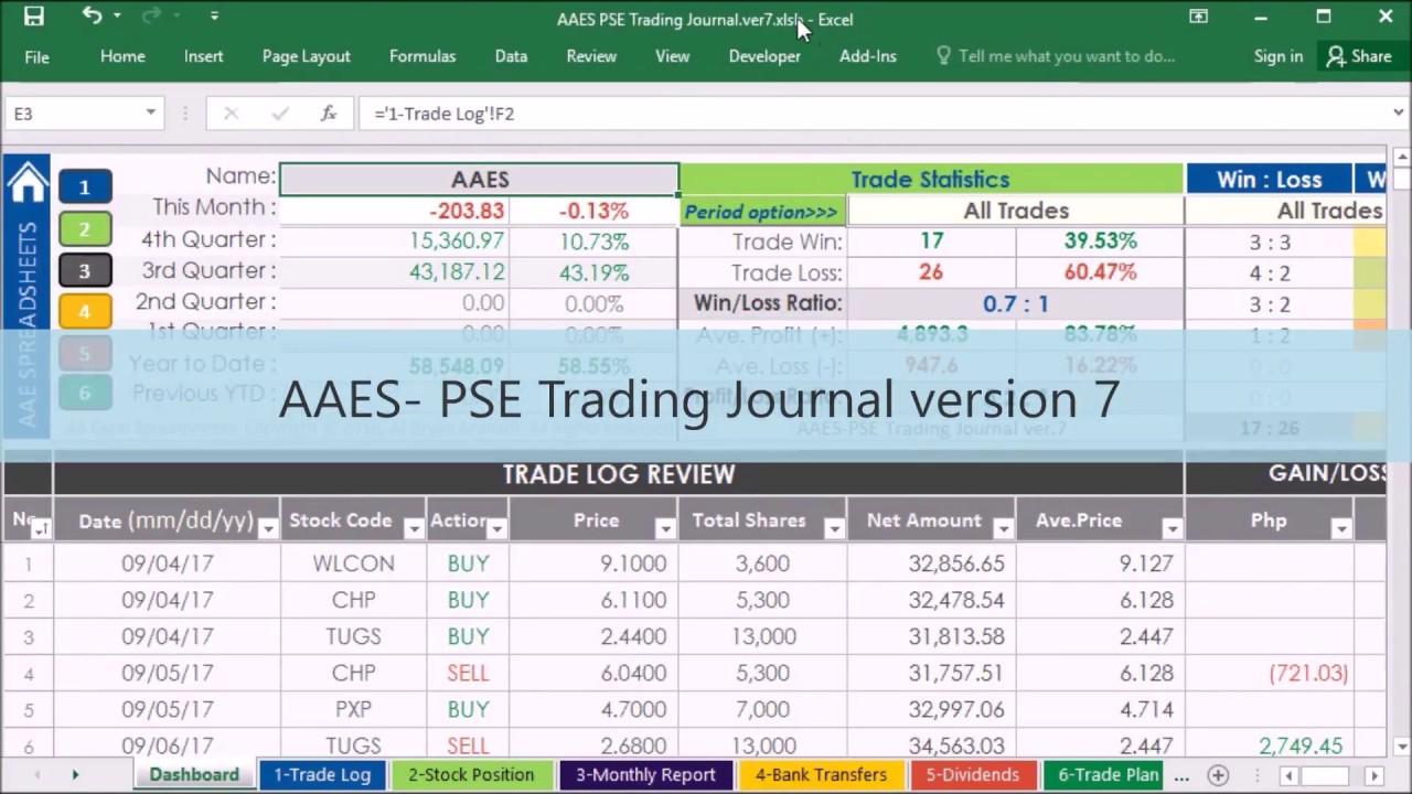 stock portfolio management excel spreadsheet aaes pse trading