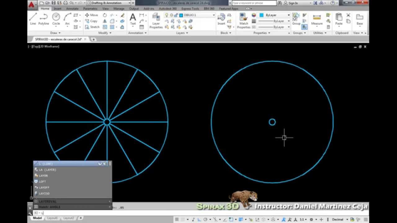 Escalera de caracol 2d 1 autocad youtube for Escaleras 3d max