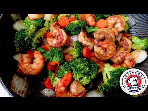 Camarones con brocoli  Comida China