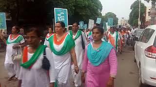 Divya Jyoti jagriti sansthan ki padyatra jisme save water  save parayvaran say no to drugs ka msg
