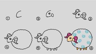 多多學畫綿羊教學、[簡單畫畫、折紙教學小學堂]