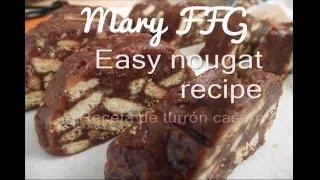 Turron de chocolate facil/ Easy nougat recipe/ biscuit cake