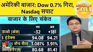 अमेरिकी बाजार: Dow 0.7% गिरा, Nasdaq सपाट | Morning Call | CNBC Awaaz