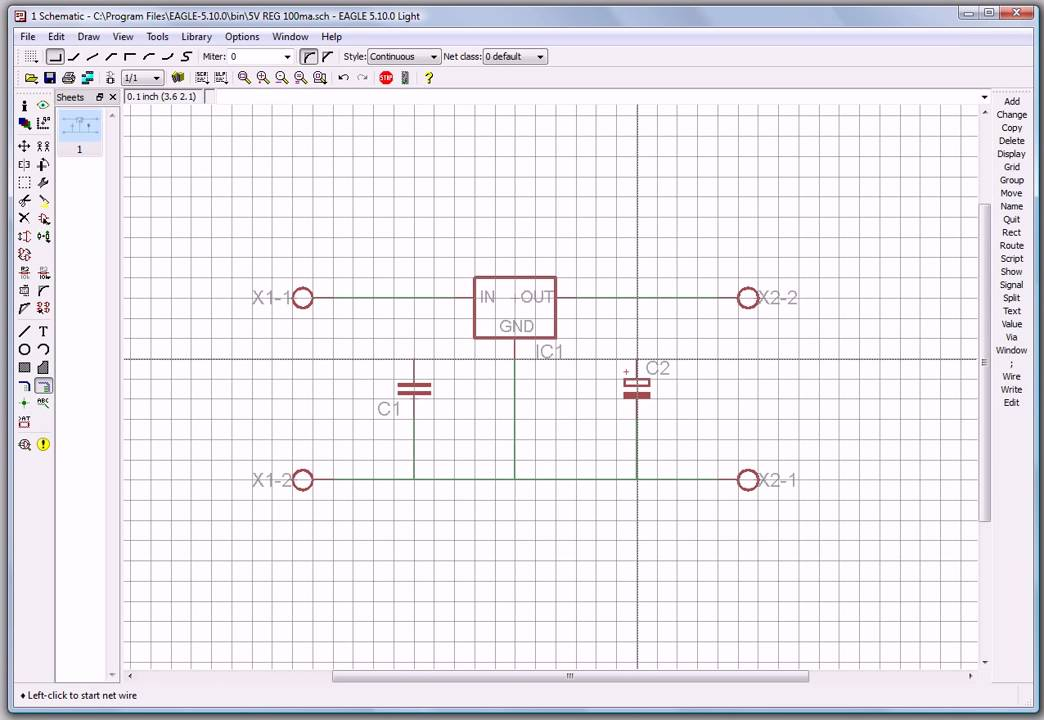 Cadsoft Eagle PCB 7805 5V 100ma voltage regulator circuit tutorial ...