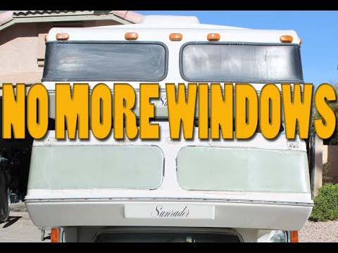 Fiberglassing in the FRONT WINDOWS on my Toyota Sunrader w/ West Systems Epoxy Resin