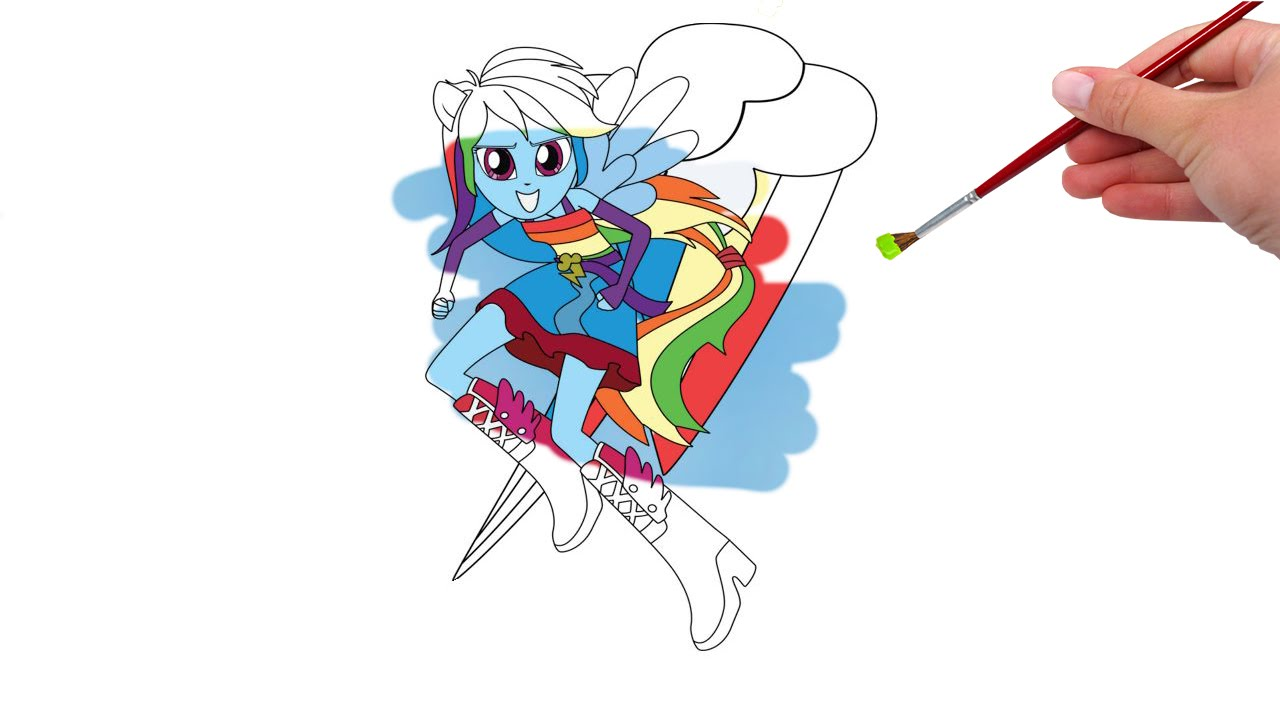 My Little Pony Equestria Girls Rainbow Dash Coloring Book Youtube