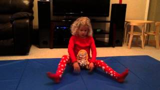 5 year old gymnast does press handstand