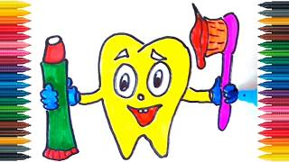 Tooth, toothpaste, brush Drawing How to Draw And Paint Tooth Coloring Book Fun Painting