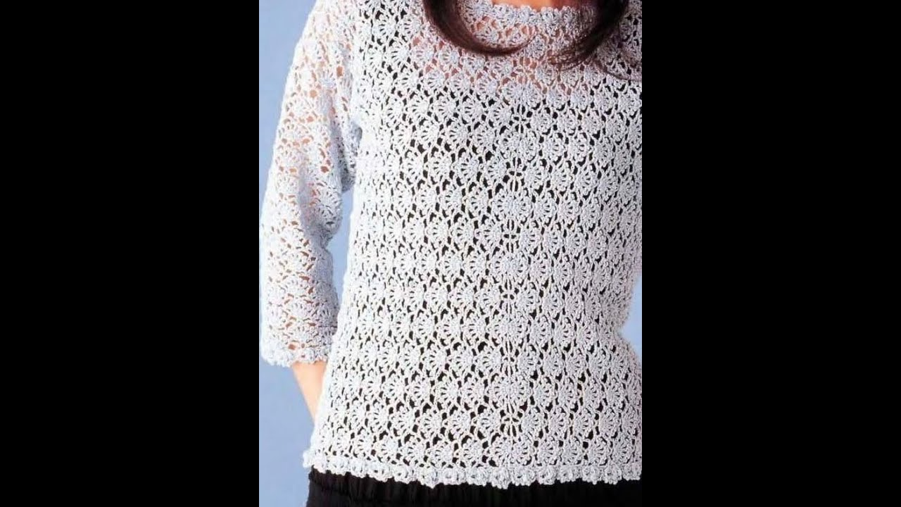 Suéter Abanicos tejido a Crochet - YouTube