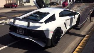 White Lamborghini Aventador SV Delivery