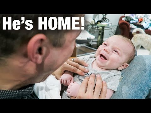 Daddy Comes Home! Baby Is SO HAPPY!