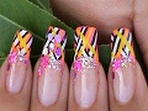 Nail Art Design Tutorial Bright Colors French Manicure Youtube