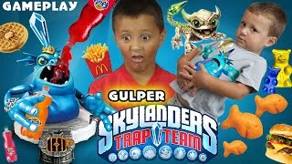 GULPER Water Villain + Funny Bone GAMEPLAY w/ Mike & Chase (Skylanders Trap Team) Soda Blob Monster