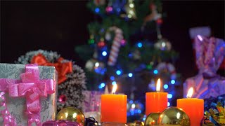 Pan shot of a decorated Christmas table prepared for Christmas celebrations