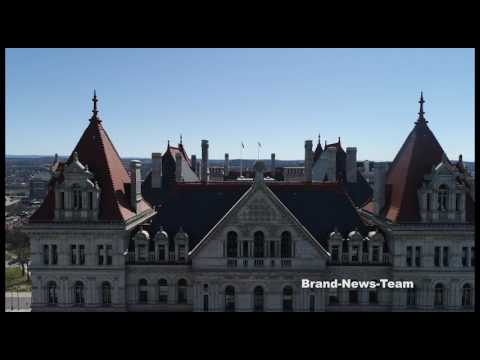 Aerial drone over New York State Capitol
