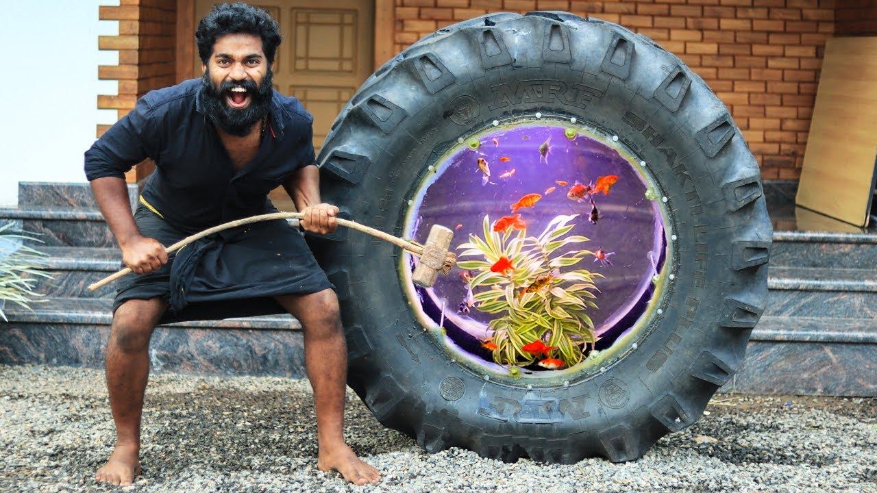 Jcb Tire Aquarium Making Part 2 | Ya It's Working !!! | സംഭവം ശെരിയാക്കി മച്ചാനെ | M4 TECH |