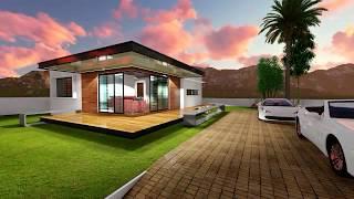 Modern House Design Animation|2 Bedroom|10mx10m|
