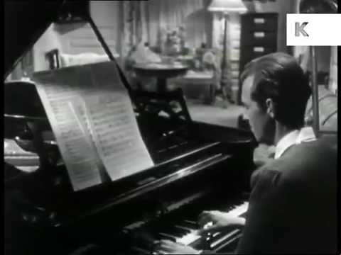 1940s Composer at Work at Piano, Writing Music