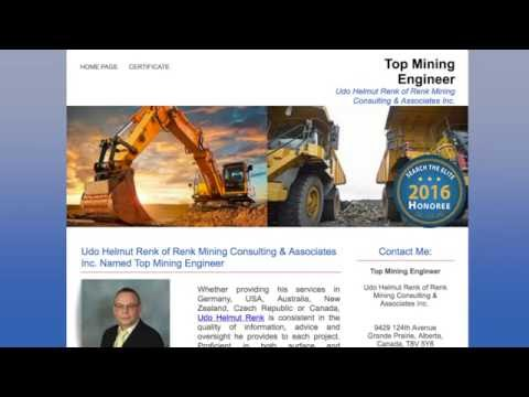 Udo Helmut Renk of Renk Mining Consulting & Associates Inc. Named Top Mining Engineer