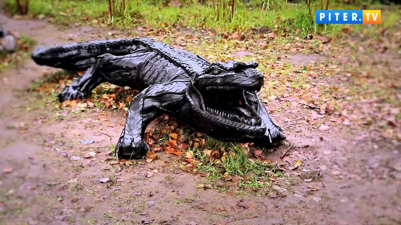 Крокодил из покрышки своими руками фото 142