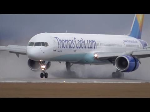 thomas-cook-boeing-757-300-beautiful-arrival-&-departure-at-grenoble-airport,-france!