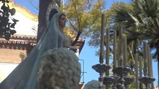 Procesión Gamarra 2017. Virgen, delante del escudo.