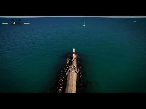 Drone 4K Aerial Kenosha Wisconsin Rock Island Lighthouse 1 ...