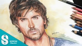 Speed Drawing: Hrithik Roshan - Colored Pencil | Timelapse sketch