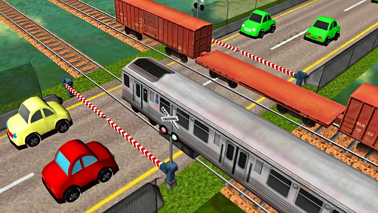 Cars And Local Trains Railroad Crossing Android Game