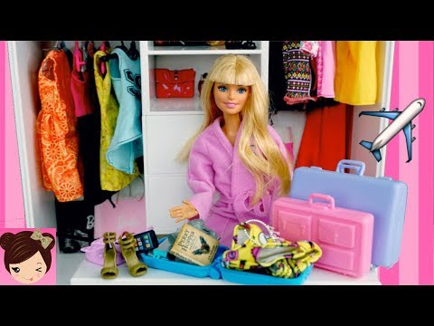 Barbie Packs Her Suitcases to go on a Trip! New Doll Clothes