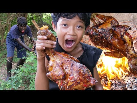 Survival Skills - Cooking big chicken and eating delicious Ep53