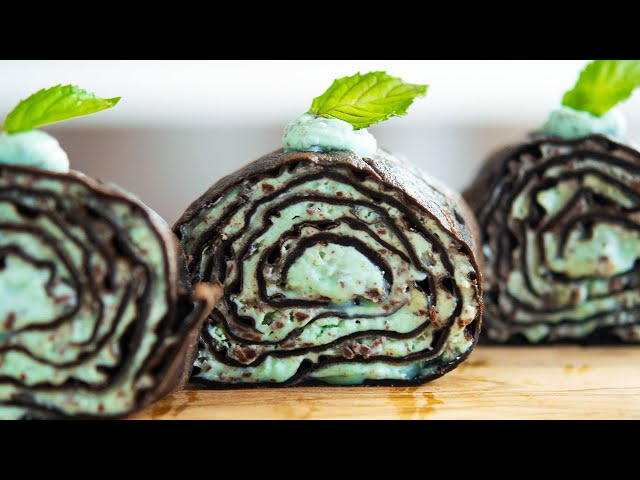 ASMR チョコミント・ミルクレープロールケーキ Chocolate mint mille crepe roll cakes